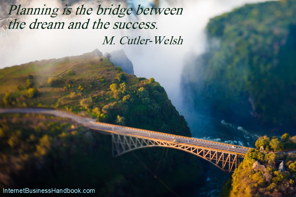 Planning is the bridge between the dream and the success.  M. Cutler-Welsh