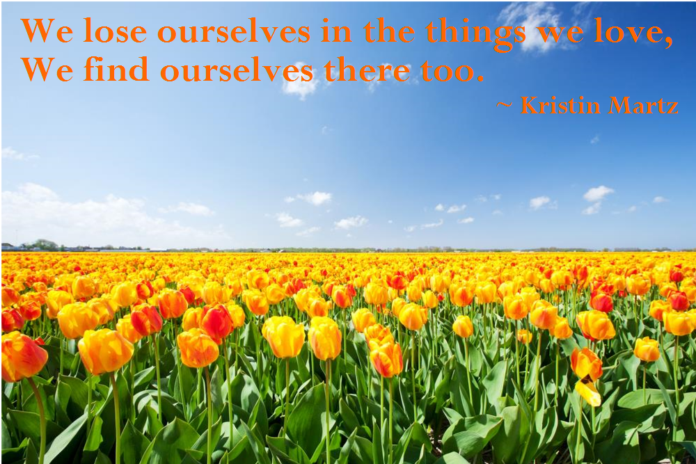 We lose ourselves in the things we love, we find ourselves there too.  Kristin Martz